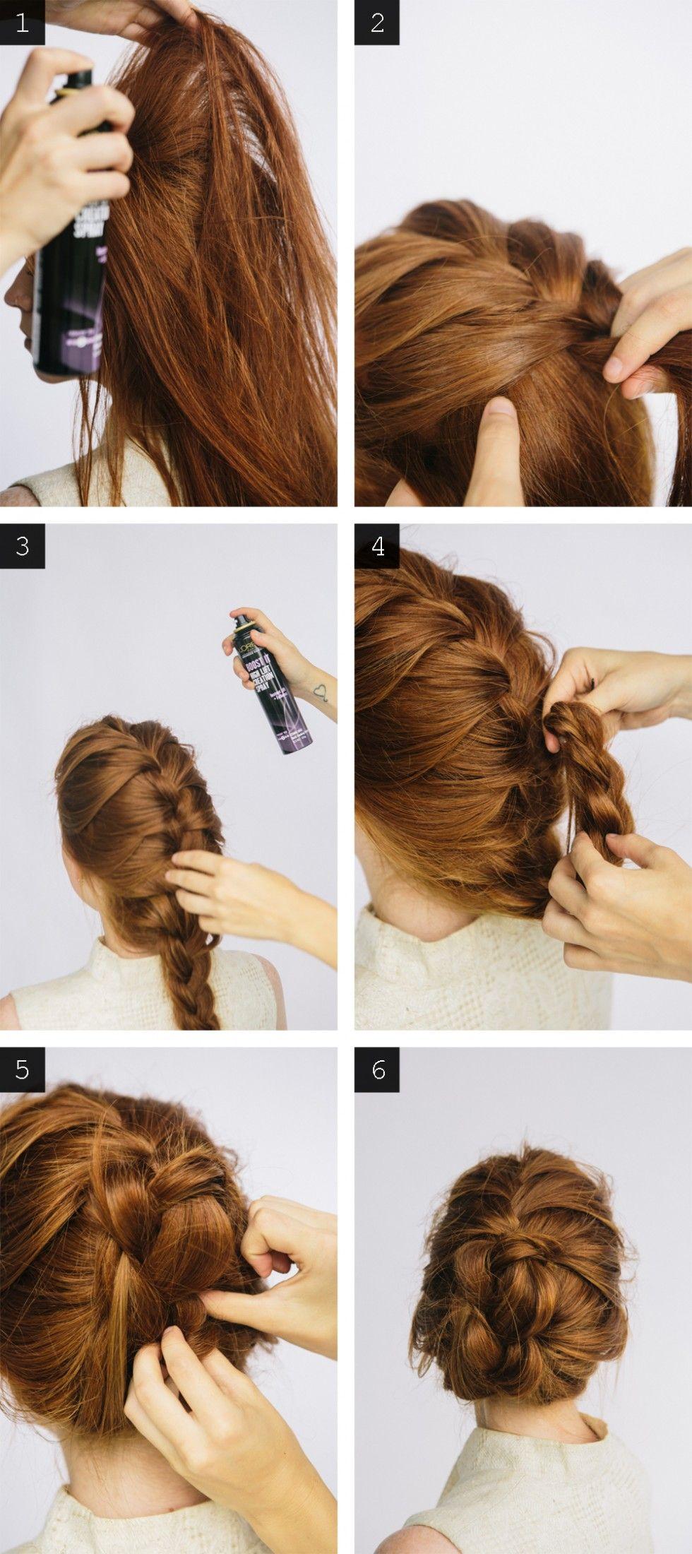 Diy braided bun updo hairstyle hair and beauty pinterest bun