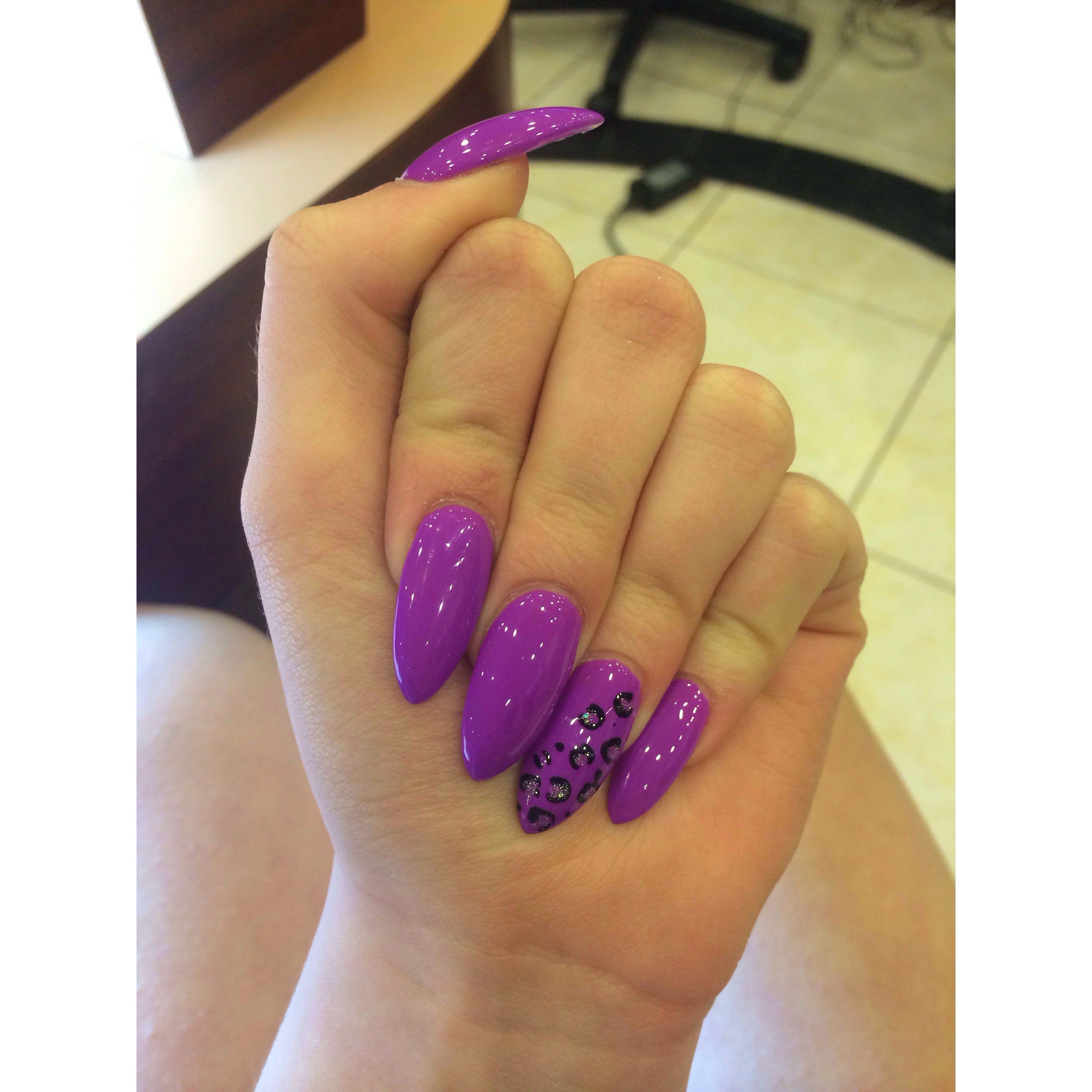Purple leopard stiletto nails | Nails<3 | Pinterest | Hair makeup ...