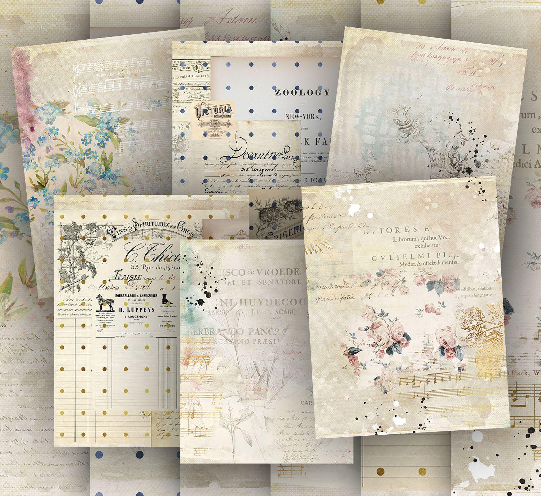 Maison 1 Print Digital Paper Vintage Paper Floral Paper Etsy Paper Floral Digital Paper Vintage Paper