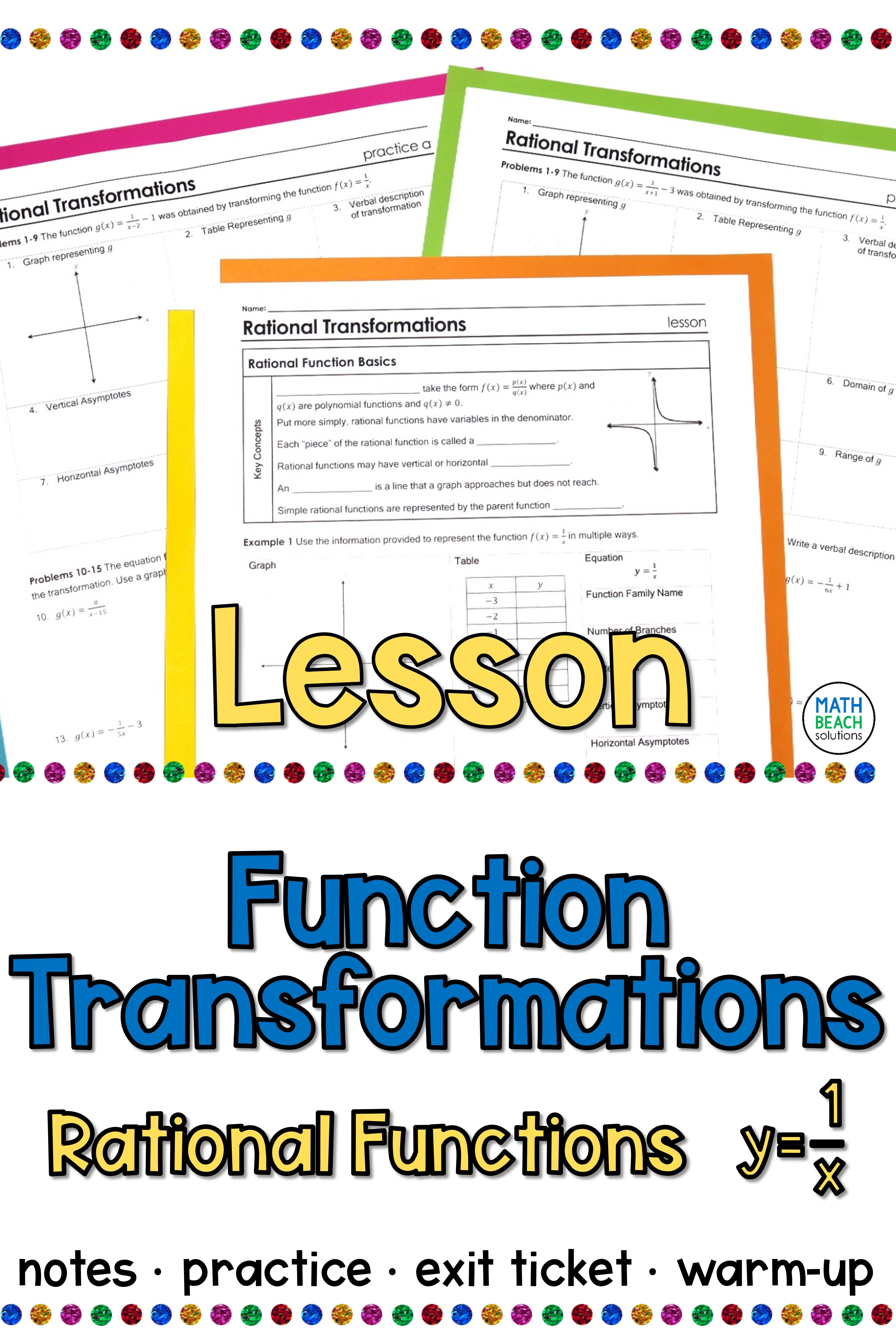 Rational Function Transformations Lesson Algebra Lesson Plans Rational Function Algebra Lessons