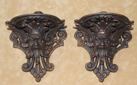 gothic wall sconce griffin gothic wall decor satyr demon devil satan gargoyle home art shelf cast iron sconce pair of satyr sconces gift