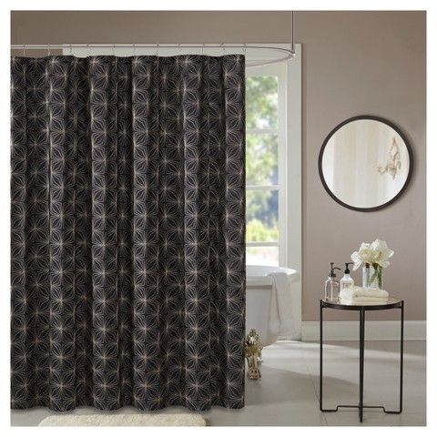 Jla Home Casey Geometric Embroidered Shower Curtain Curtains
