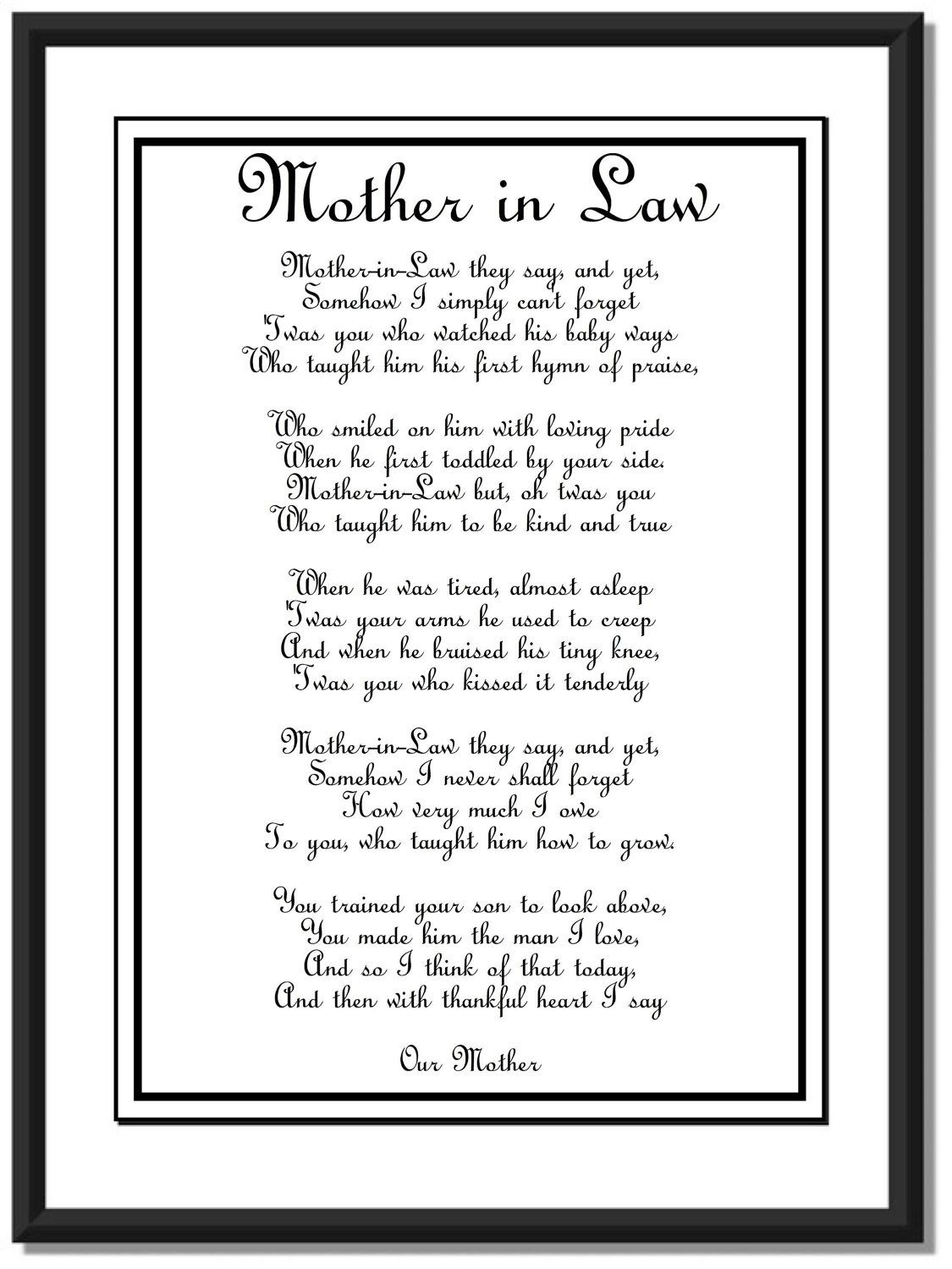 Wedding Day Mother In Law Poem Diy Printable