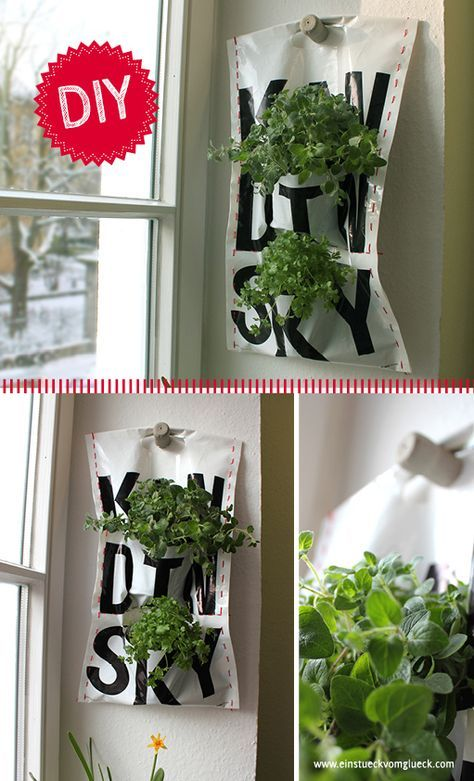 Sehr coole Idee: die Pflanzentasche! Plastiktüte + Lieblingsblume = Vertical Garden