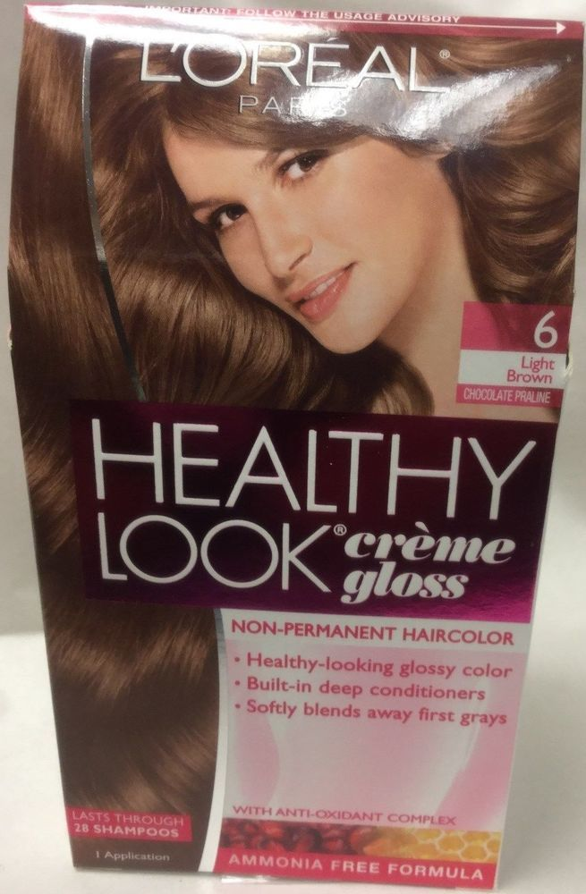 Loreal Healthy Look Creme Gloss Hair Color 6g Light Golden Brown