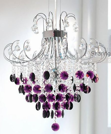 Crystal Chandelier With Purple Drops
