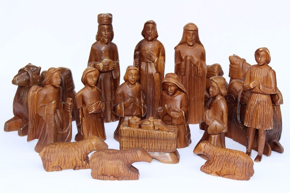 Details About Hand Carved German Wood Christmas Nativity Set