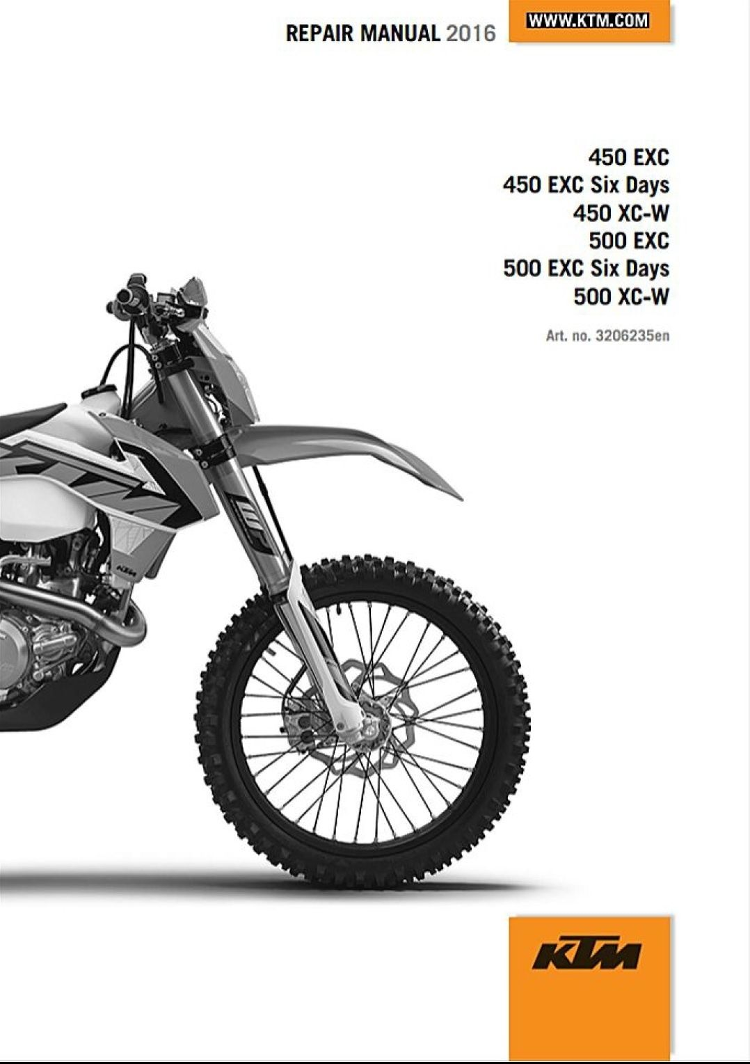 hight resolution of 2016 ktm 450 500 exc xc w 6days service repair manual