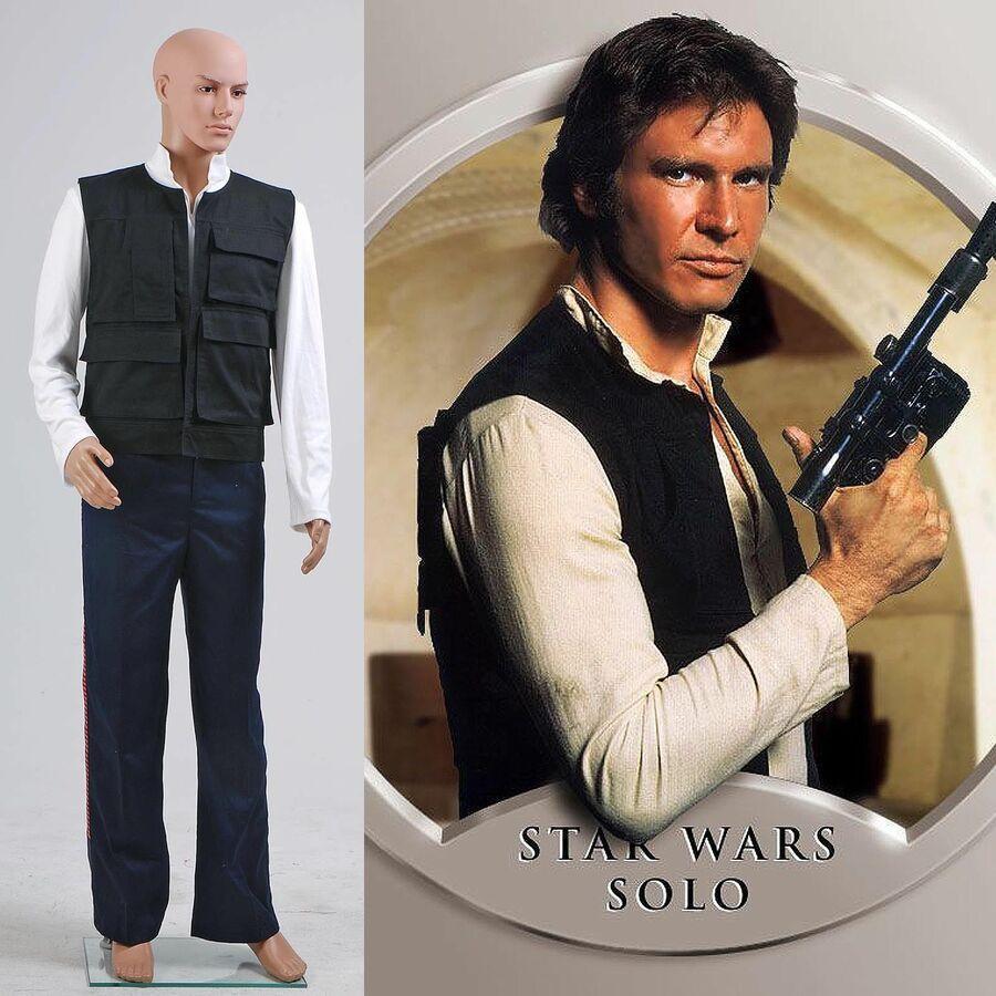Halloween Star Wars A New Hope Han Solo Cosplay Costume Vest Shirt Pant Full Set