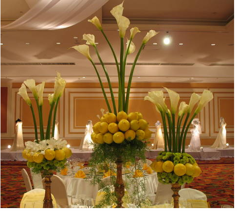 Wedding White Flowers Centerpieces With Lemon