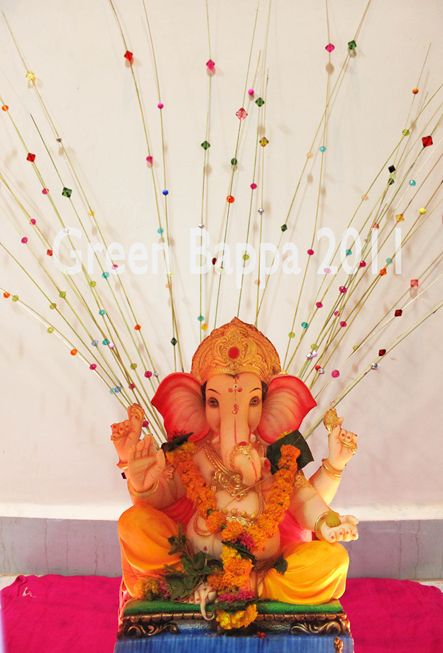 Green bappa campaign ganesha decoration idea 4 beads and for Decoration ganpati