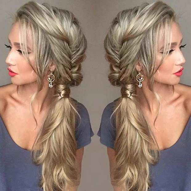 21 pretty sideswept hairstyles for prom messy fishtail