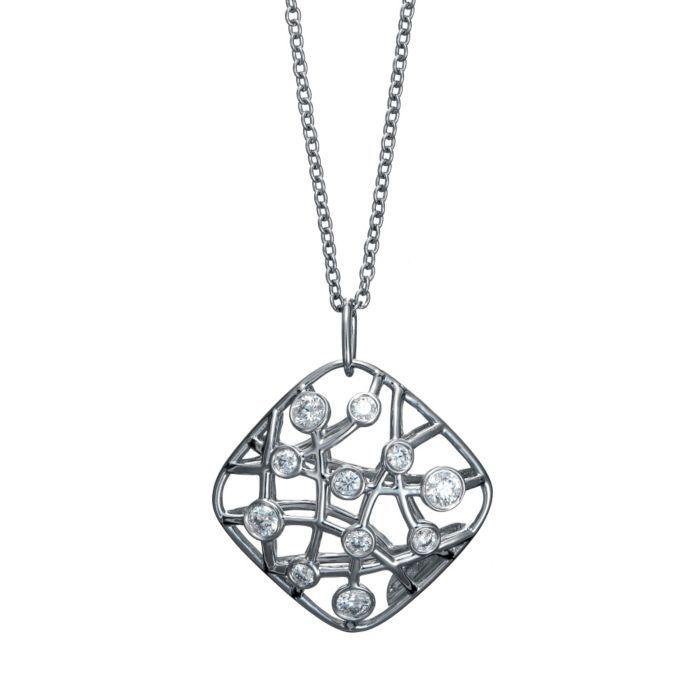 Brocade Diamond 18K White Gold Pendant Necklace