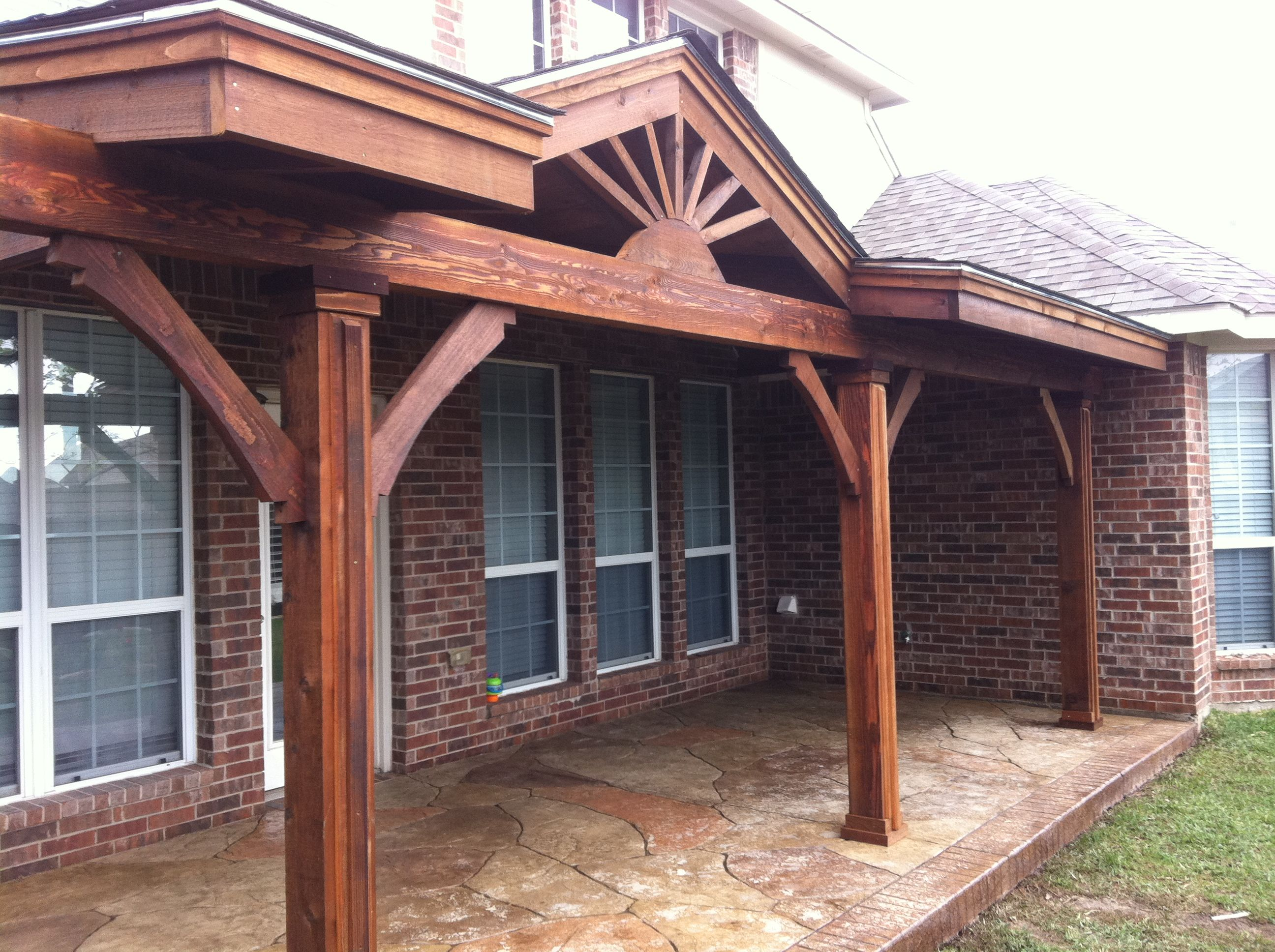 Another mini gable patio cover with stamped concrete patio for Gable patio designs