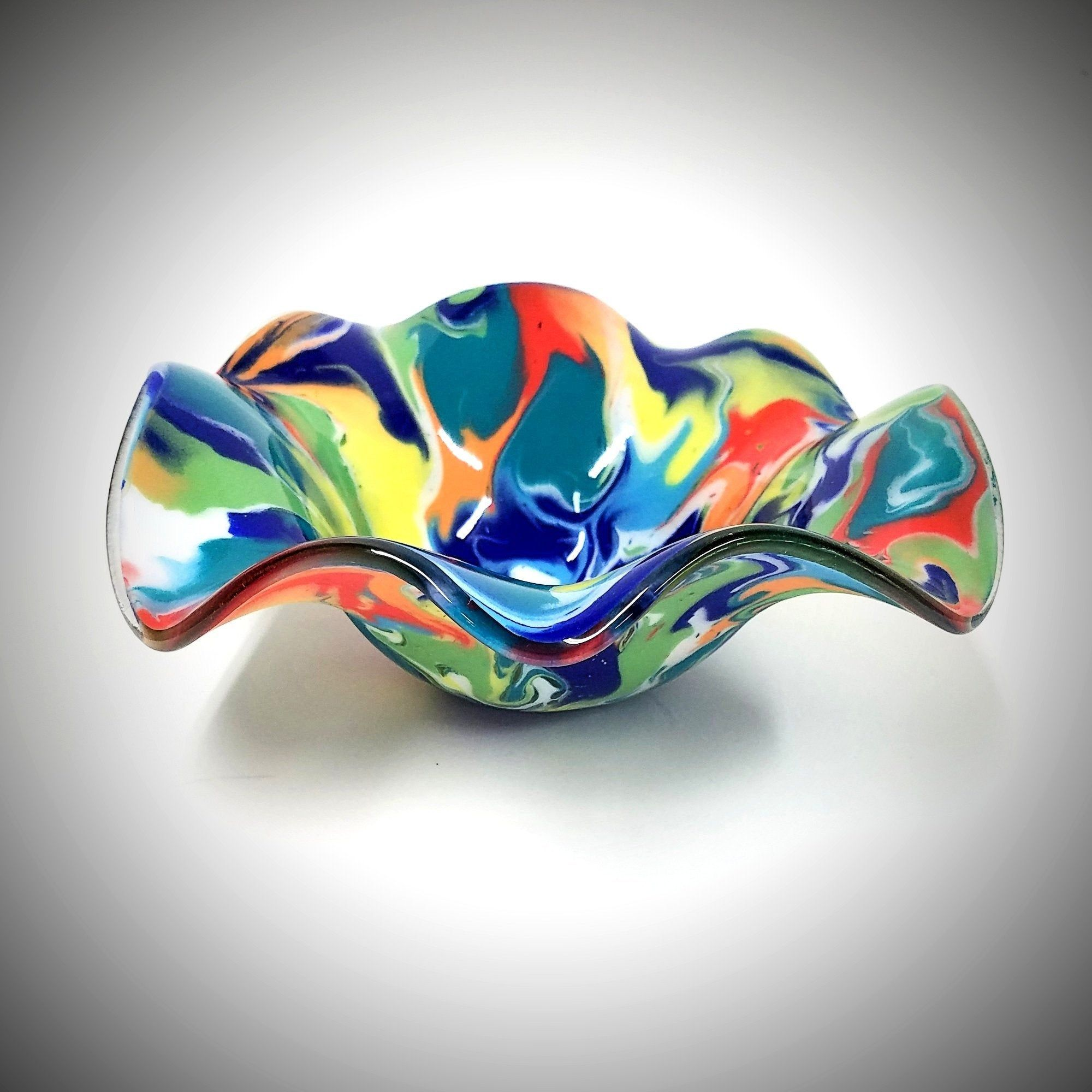 Rainbow Glass Wave Bowl   Fused Glass Art Fruit Bowl   Colorful ...