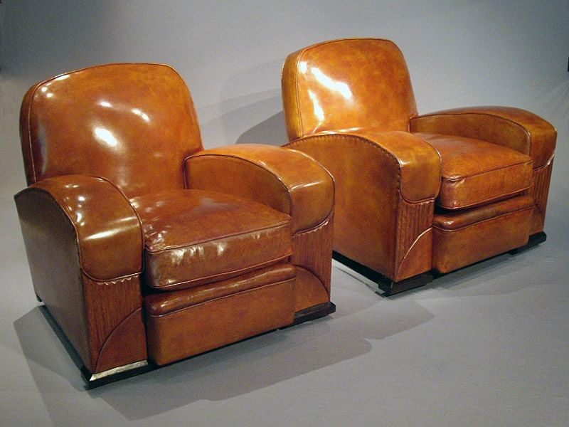 art moderne furniture. pair of leather art deco club chairs moderne furniture
