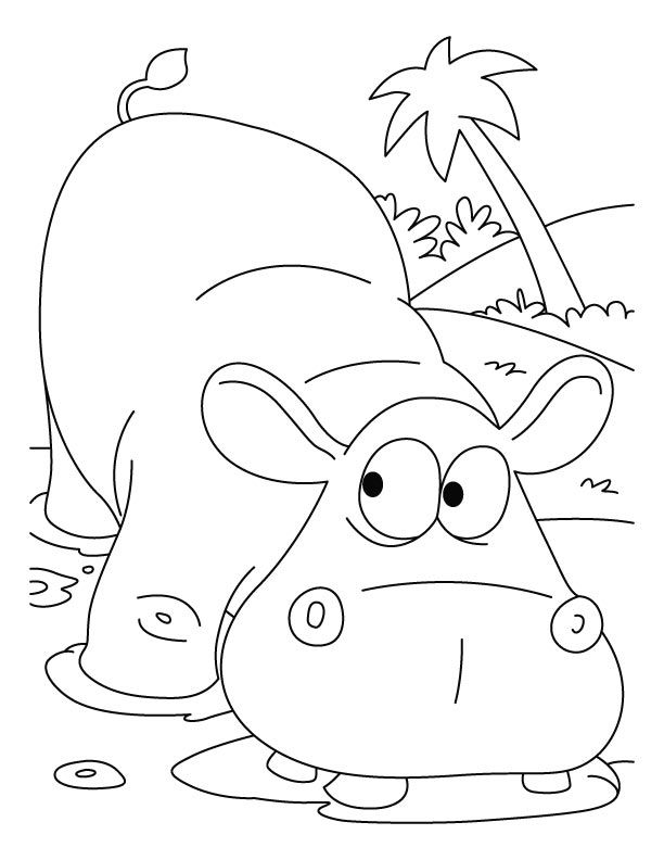 Best collection of Cute Cartoon Hippo Coloring Pages to print out ...