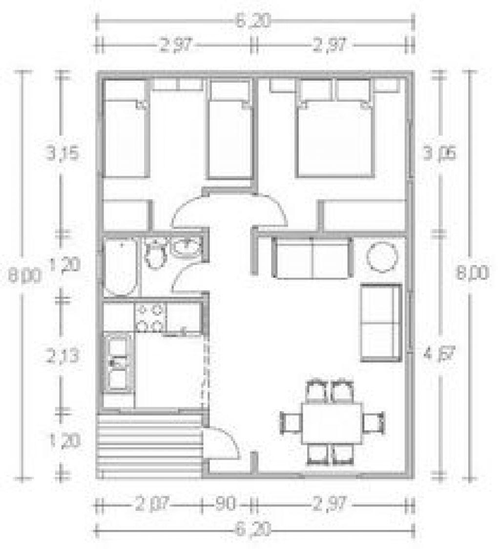 24 Inspirador Como Hacer Un Plano De Mi Casa Plano Casa Dos Dormitorios Cocina Edor Ba O 60 Metros 2 Busc House Floor Plans Tiny House Plans Small House Plans