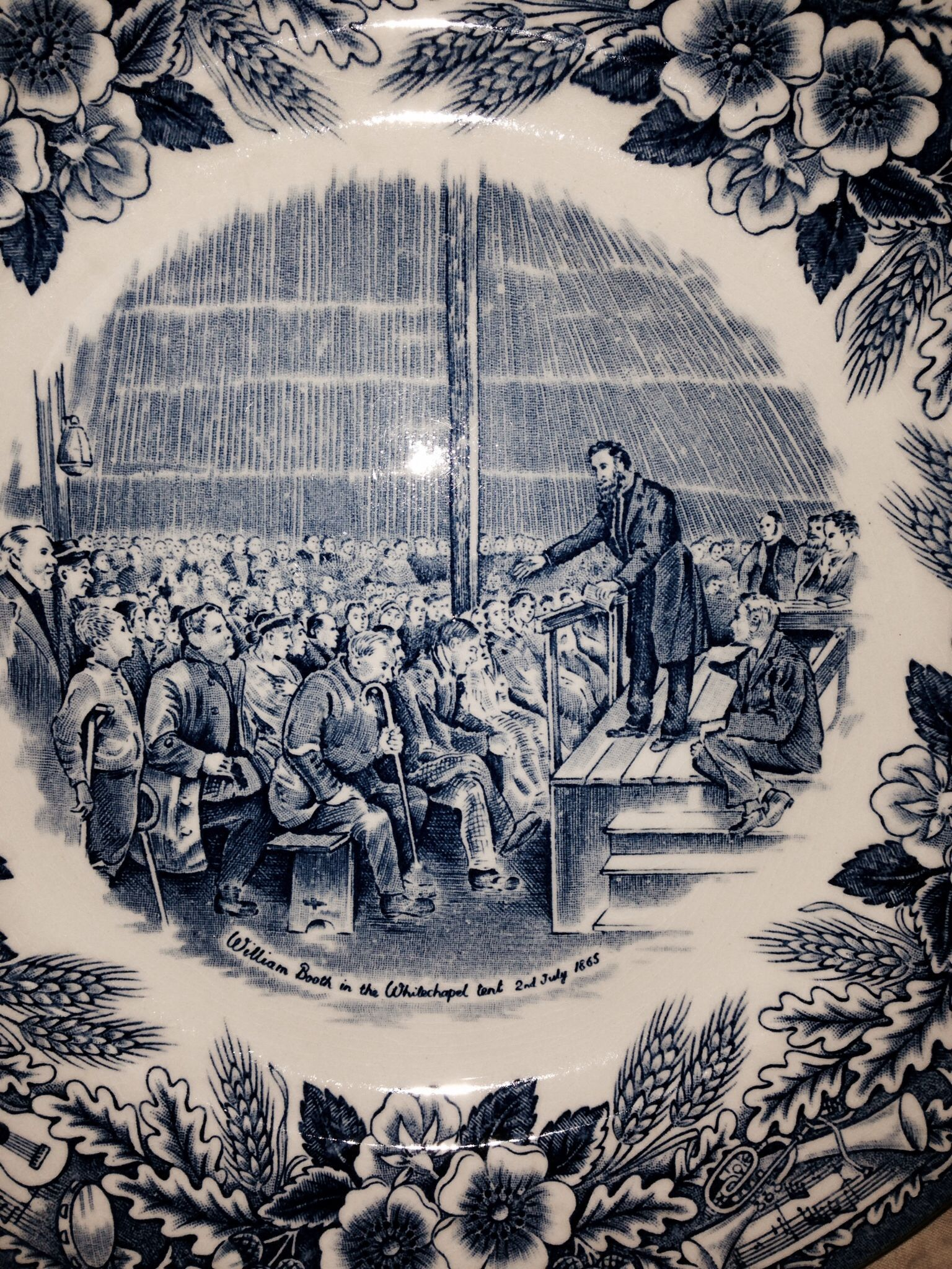Salvation Army dishes.  Plate depicts founder William Booth preaching to the masses in the 1800's.