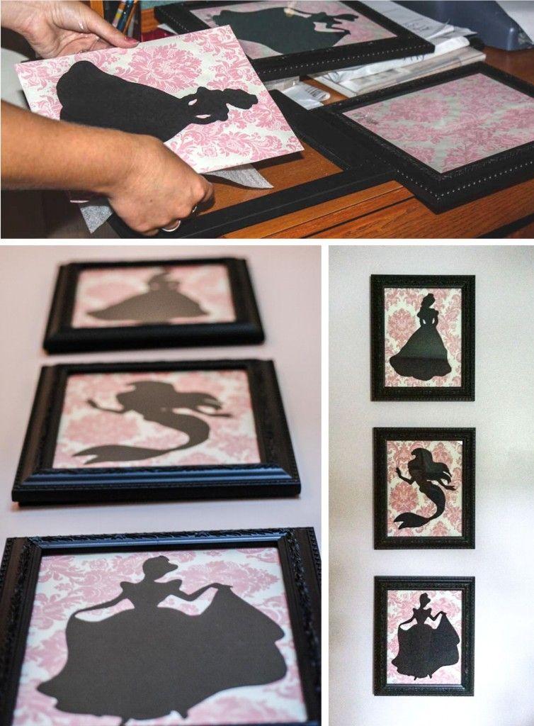 Leuke DIY-tip: teken de silhouetten van Disney prinsessen op zwart papier, knip uit, plak op mooi behangpapier en lijst in!