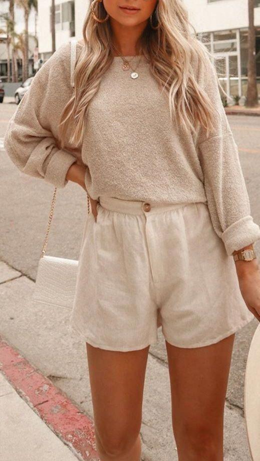 Photo of Avslappnad sommarutrustning, sommarstadsdräkt, sommarstilidéer, all beige outfit, …