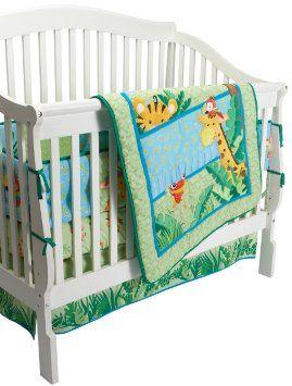 Fisher Price Rainforest Jungle Stripe 4 Piece Crib Set Baby