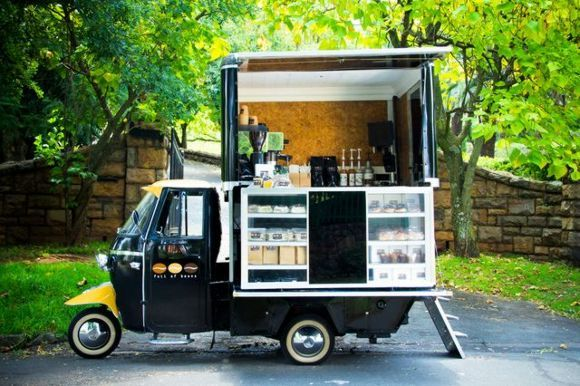 Full of beans south africa piaggio trivespa scooter for Coffee cart design