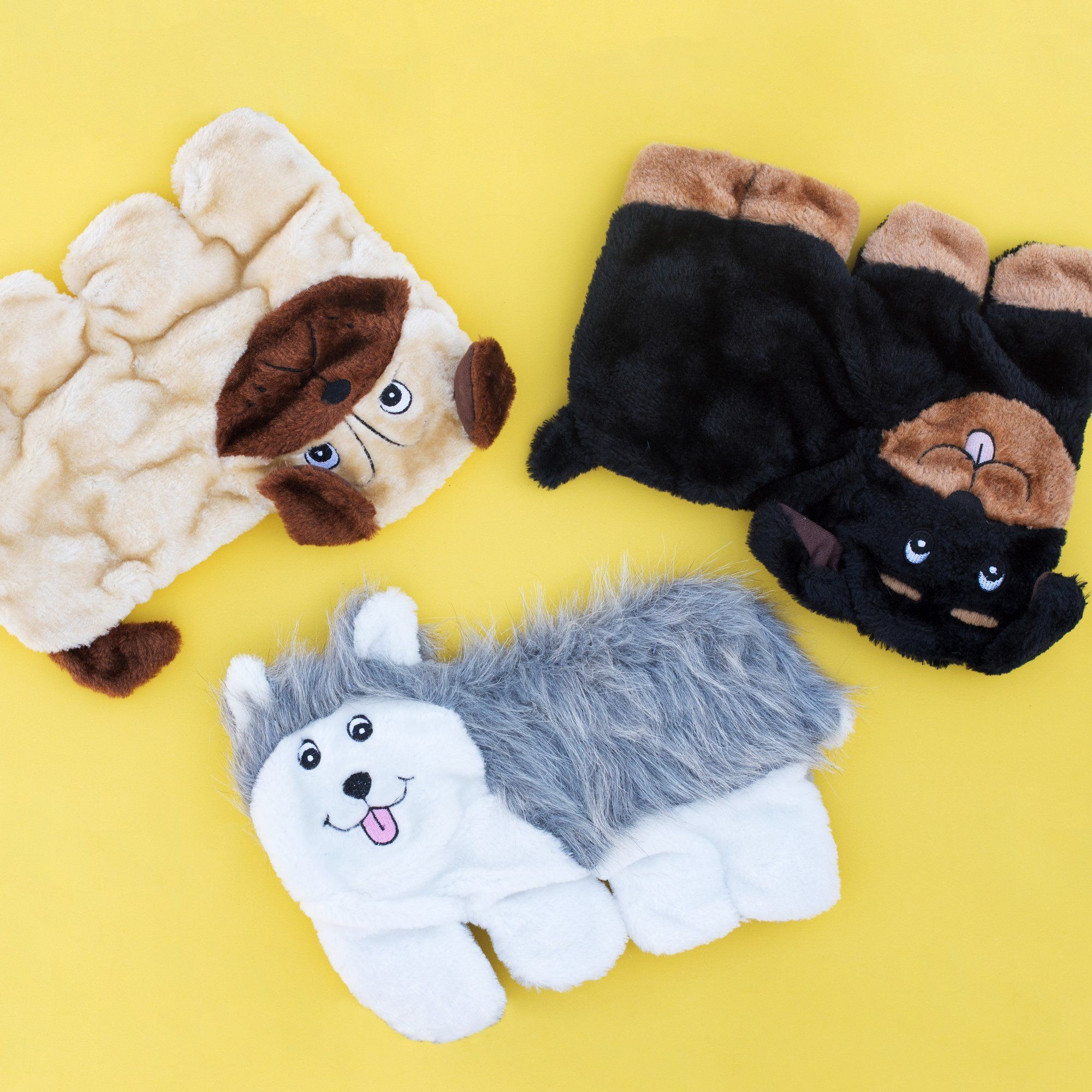 Zippypaws Squeakie Pup Nostuffing Plush Dog Toy 11 Squeakers Husky