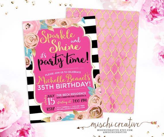 35th Birthday Invitation For Her