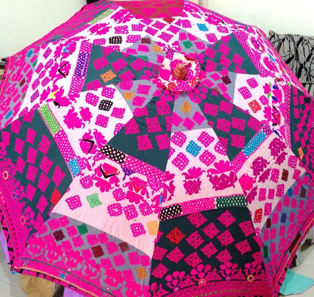Garden Patio Sun Umbrella Parasol Boho Bohemian Traditional Indian  Embroidered