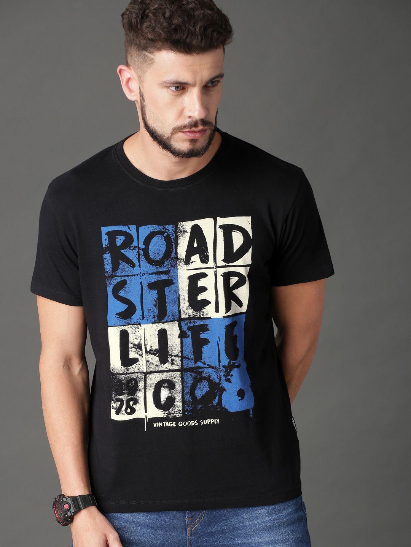 5a7946bfc Buy Roadster Men Black Printed Round Neck T Shirt - Tshirts for Men 8240301  | Myntra