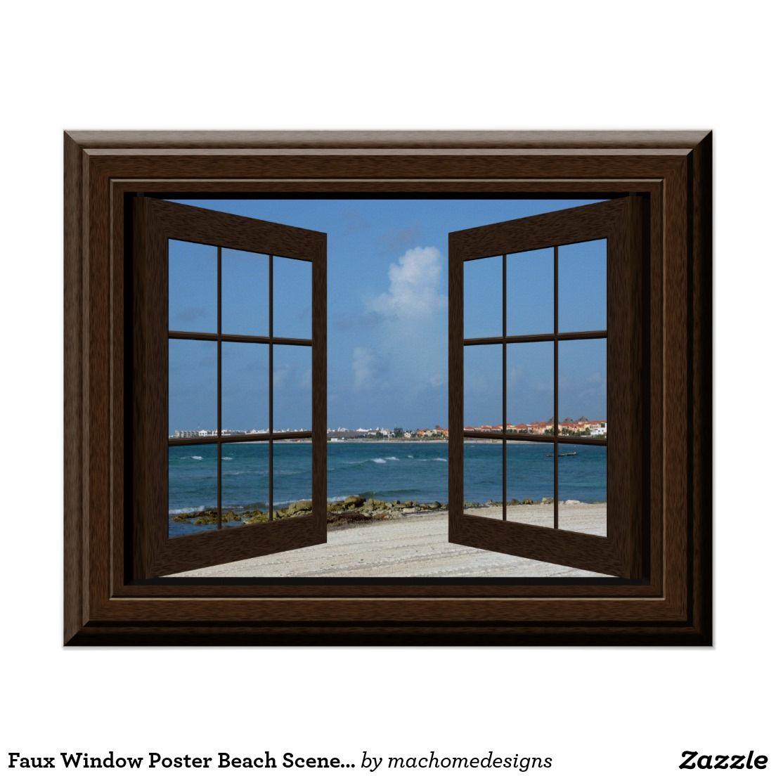 Faux Window Poster Beach Scene Relaxing View Window