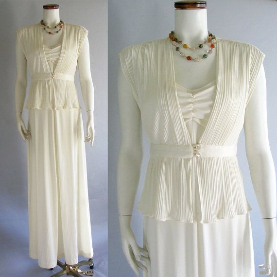 Vintage 70s Wedding Dress Slinky Bride Off-white By
