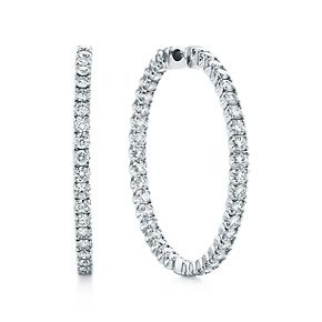 4ddb07544 Tiffany Metro hinged hoop earrings in 18k white gold with diamonds, large.