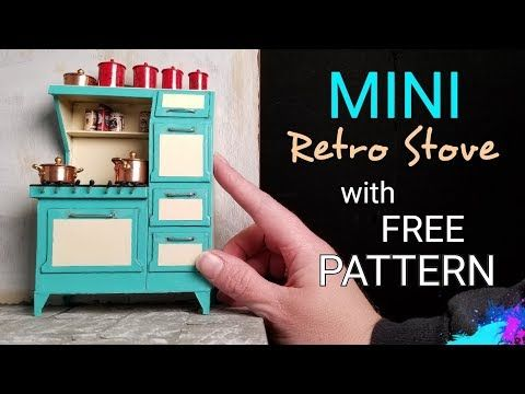 Miniature Dollhouse Retro Stove with Free Downloadable Pattern - YouTube #miniaturefurniture