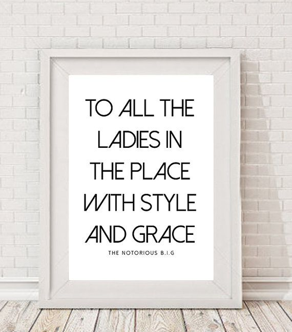 A4 Typography Lyrics Poster Printable Decor Hip Hop Style Grace The Notorious On Etsy 4 71 Cad