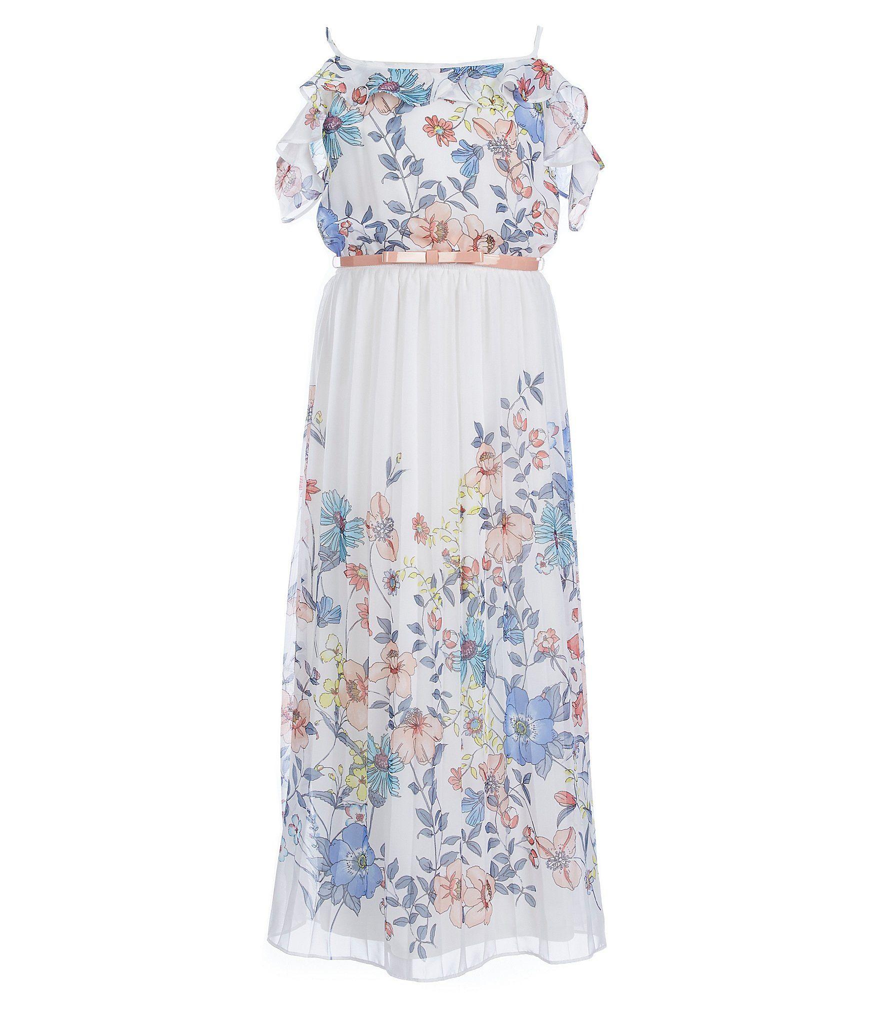 d89d16e29ee Rare Editions Big Girls 716 FloralPrint Pleated Maxi Dress  Dillards ...
