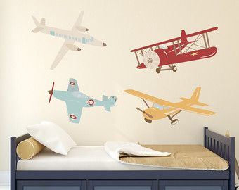 Merveilleux Airplane Wall Decal: Plane Wall Decal   Airplane Vinyl Wall Decor   Old  School Aeroplane