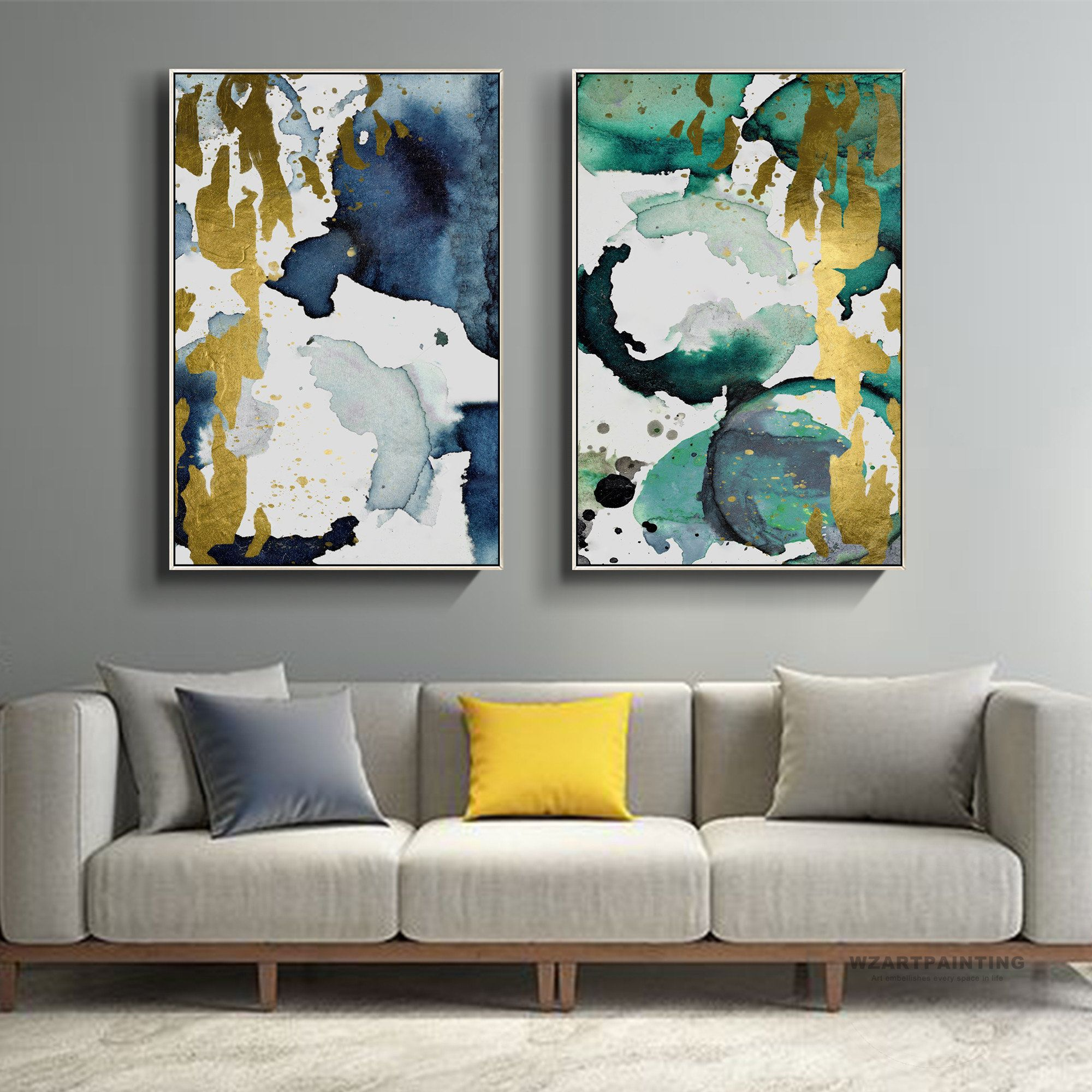 Framed Wall Art Set Of 2 Prints Abstract Gold Green Navy Blue Print Painting Gold Art Pictures On Canvas Wal Framed Wall Art Sets Wall Art Sets Canvas Wall Art