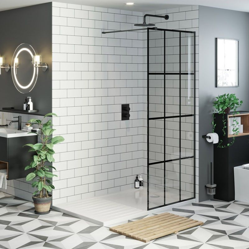 Mode 8mm black framed wet room panel with walk in shower tray 1600 x 800 #wetrooms