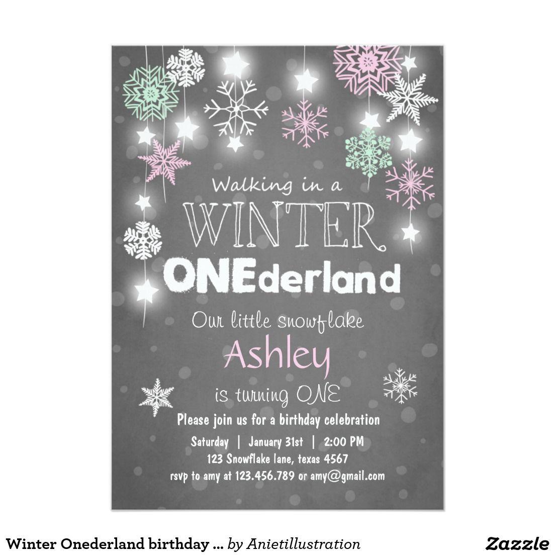 Winter Onederland birthday party invite Mint pink | Winter onederland