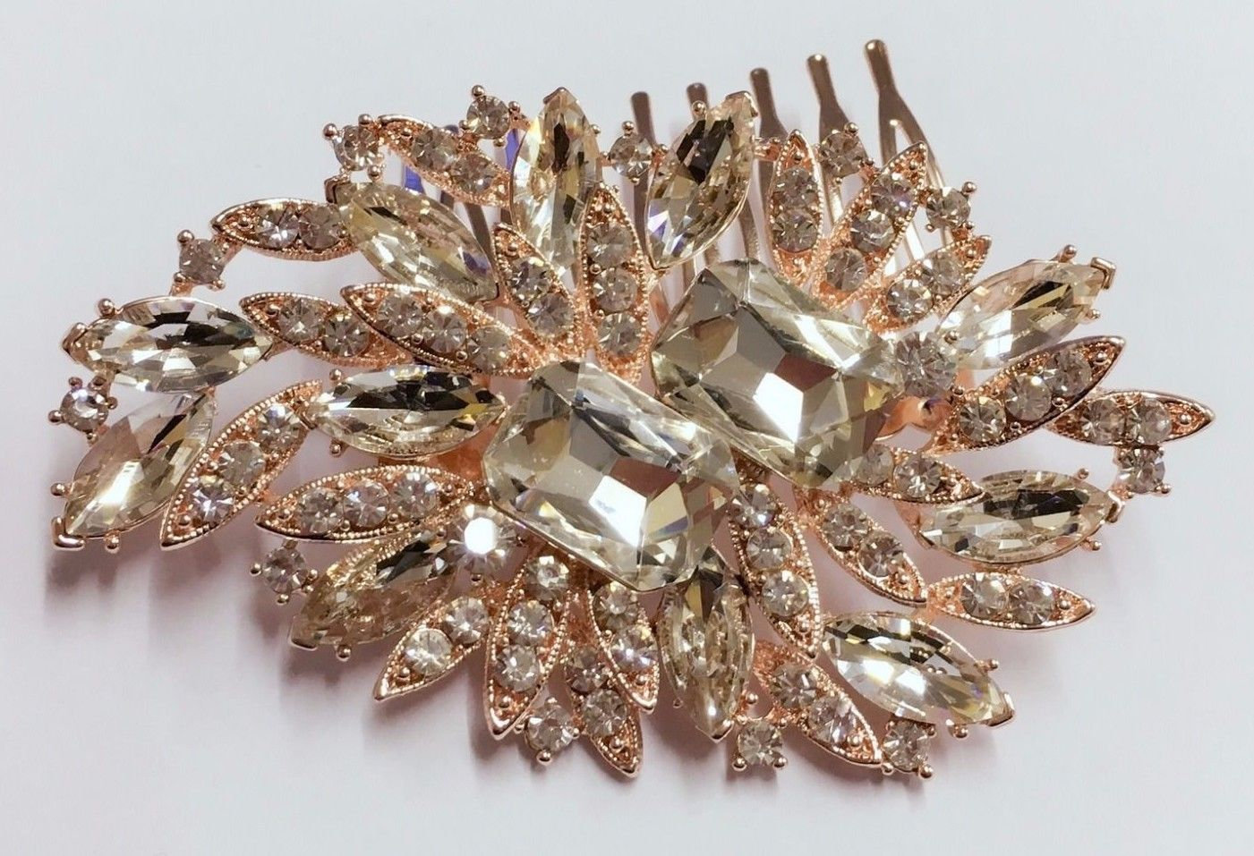 elegantly vintage style design full crystal rose gold hair comb