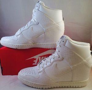 wholesale dealer 0d471 5ec16 NEW Women Nike Dunk Sky Hi Leather Snake Heel Wedge Shoe White 528899 105 SZ  9.5