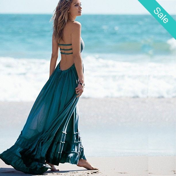 9db4922fd2e Ladies Gorgeous Aqua Blue Flowy Beach Low Cut Sexy Back Boho Maxi - On Sale  for  47.99 (was  71.99)