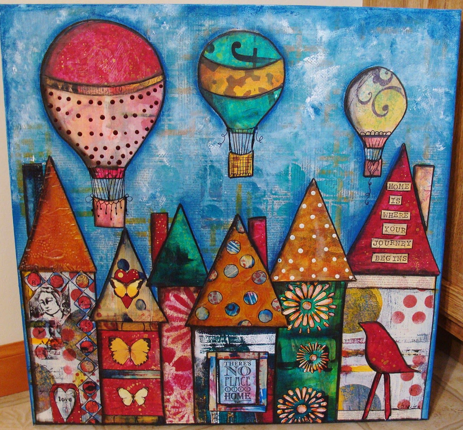 Scrapbook paper art ideas - I Never Thought About Using My Own Printed Papers For The Houses In My Next Piece