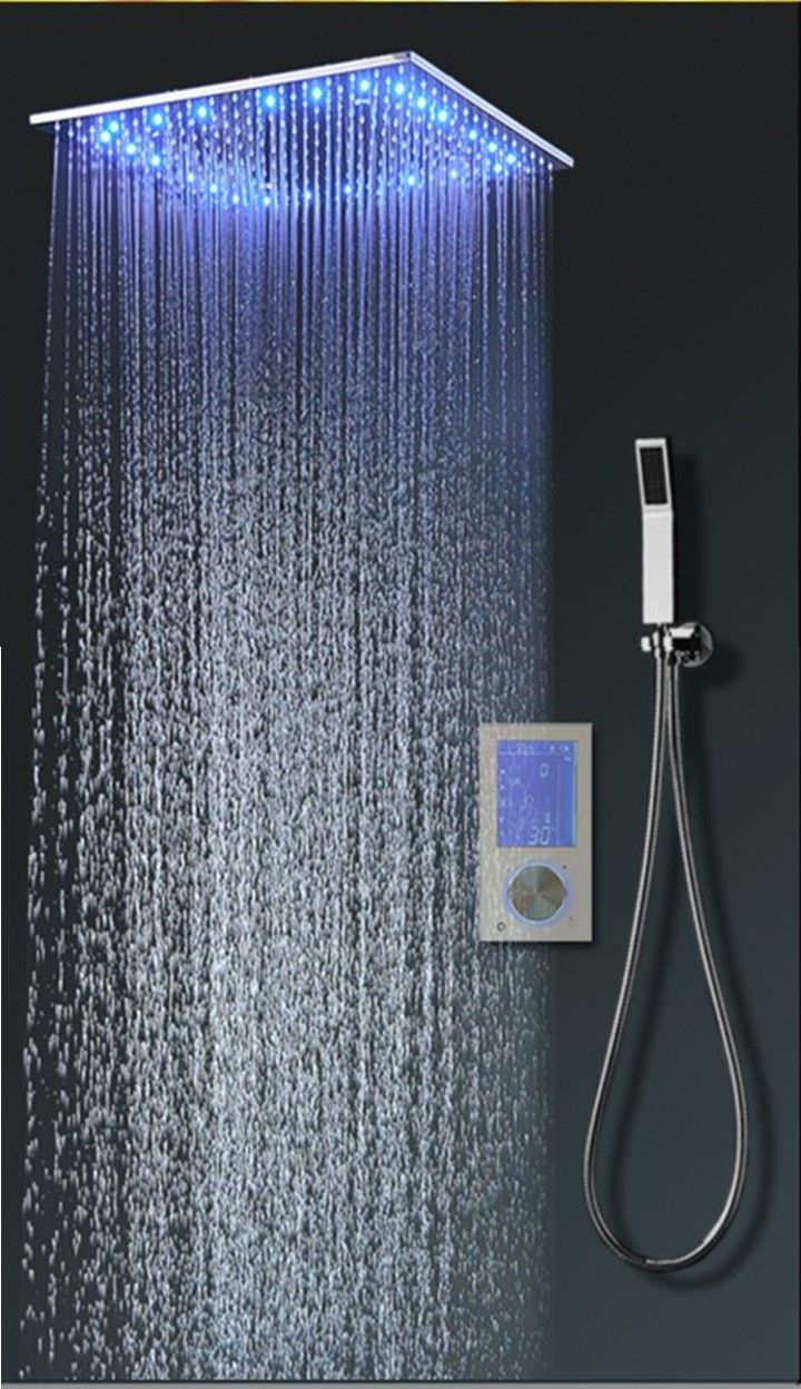 20 Super Thin Mirror Polished Stainless Steel Temperature Sensing Led Rainfall Shower Set With Spra Best Faucet Bathroom Makeover Beautiful Interior Design