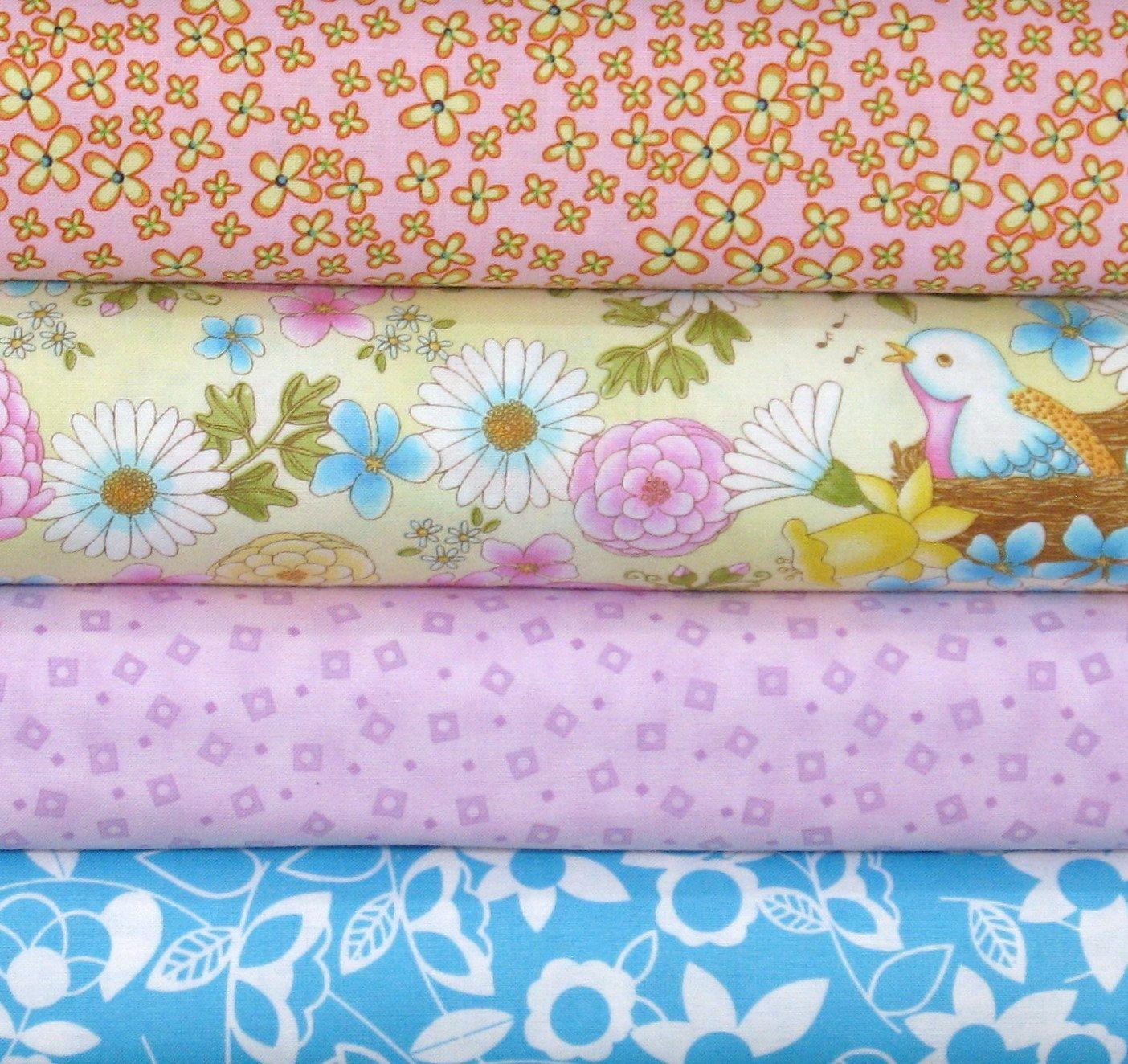 Four Yellow, Pink and Aqua Fabrics, Cotton Quilt Fabric Bundle ... : quilt fabric for sale - Adamdwight.com