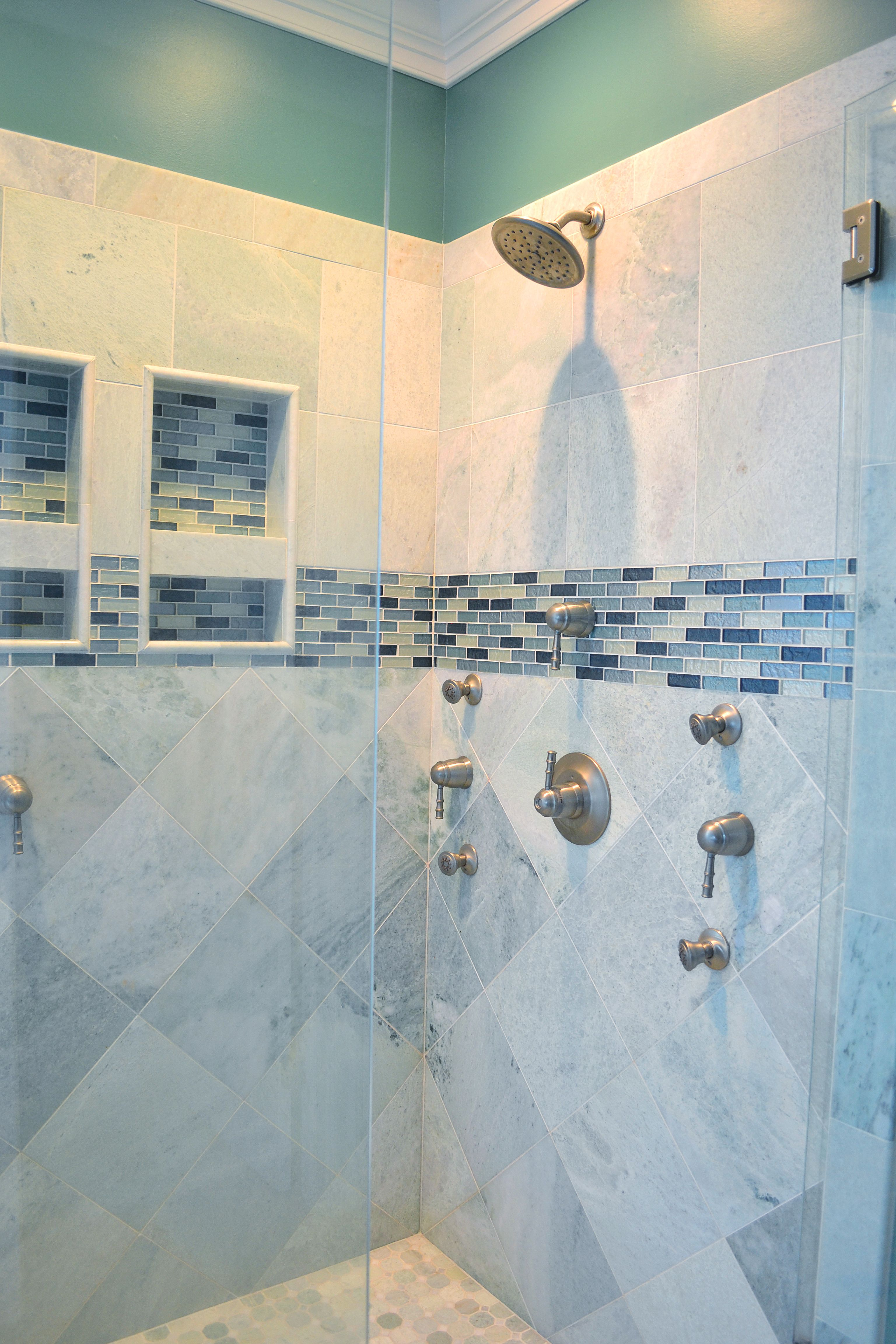 Beautiful walk-in shower with gray ceramic tile with aqua and ...