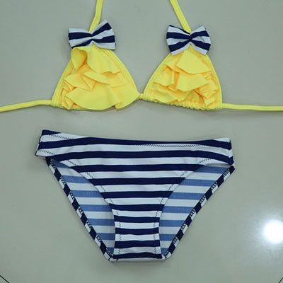 e8ee7ace529 New Bikinis Set Children s Swimsuit Cute Bow Solid striped Bottom Girls  Swimwear Swimming Suit 10-16 year old