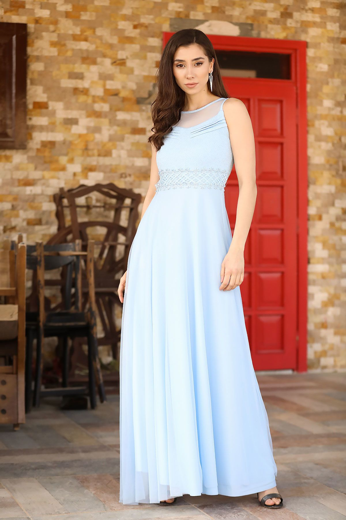 فستان سهرة تول أزرق نسائي